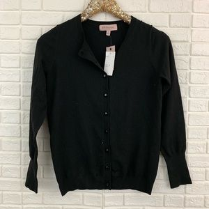Philosophy solid black button front cardigan knit